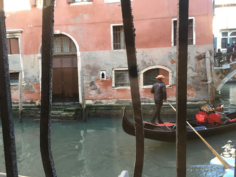 Gondola gliding through Venice