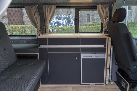 WohnBUS ohne Kleiderschrank- 155 cm breite Liegefläche im Oberkörperbereich