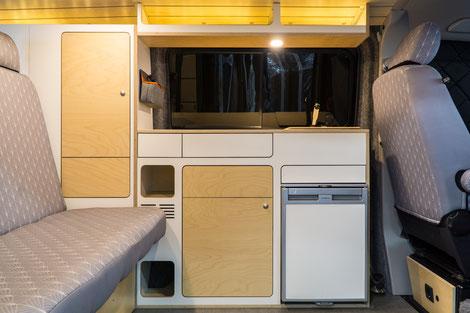 VanBUS Möbel in Weiß und Birke Transparent - Serie