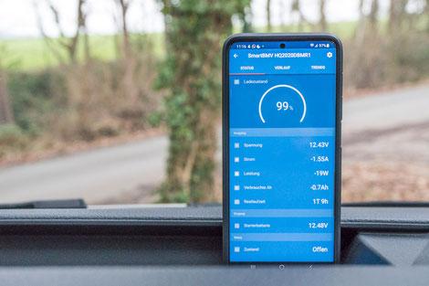 App Überwachung des Ladezustands und der aktuellen Ladung, bzw. Entladung der Batterie