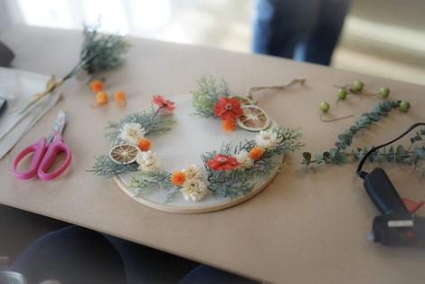 刺繍枠リース ワークショップ