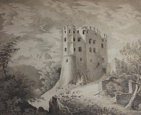Burg Schwanstein um 1829 - Bleistiftzeichnung, Künstler unbekannt