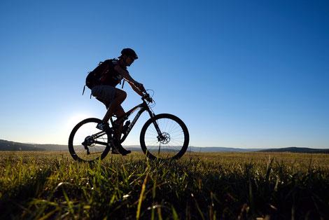 Mountainbiker auf Hochplateu