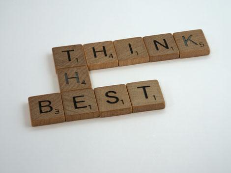 Scrabble, Buchstaben, Think the best, Zuversicht, Krise