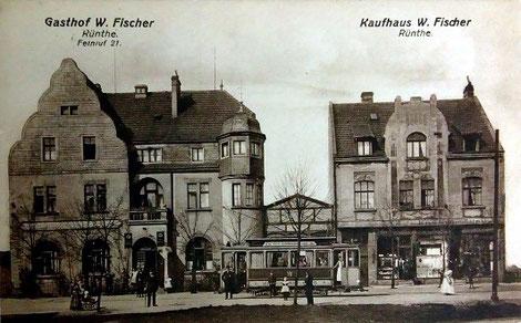 Die Gaststätte Fischer (später Kuhlmann) im Jahre 1920. (Bildnachweis: Sammlung u. Archiv Peter Voß)