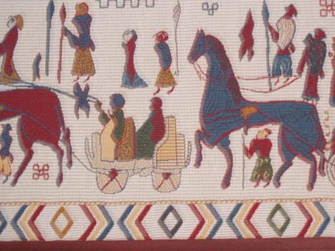 Replica of Oseberg tapestry, wikimedia
