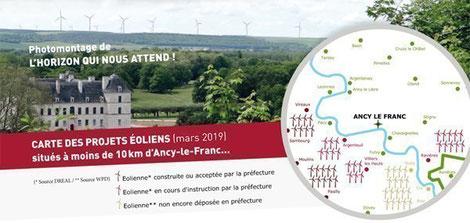 Une pétition sur internet contre plusieurs projets d'éoliennes non loin du château d'Ancy-le-Franc, dont celui à Argenteuil-sur-Armançon, avait récolté plus de 2.500 signatures.