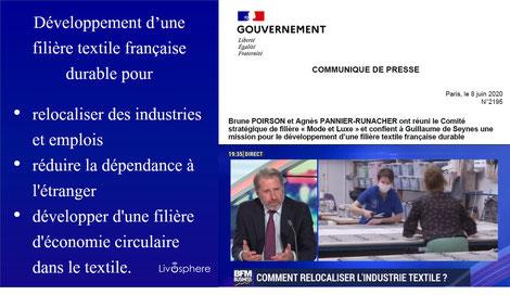 Filière textile française durable  Brune Poirson, Agnès Pannier-Runacher, CSF « Mode / Luxe » Guillaume de Seynes Livosphere