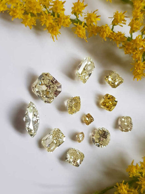 Auswahl an gelben Diamanten - selection of yellow diamonds