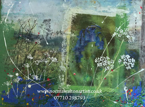 Mixed media semi-abstract painting Bluebells and Queen Ann's Lace