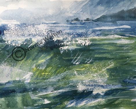 Summer Seaspray, contemporary watercolour