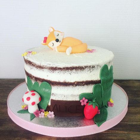 Gâteau baptême Alice, petite renarde par Esquimo et Pinata
