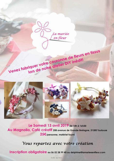 Affiche de l'atelier DIY, participation de 25€/personne, inscription obligatoire auprès de La mariée en fleur