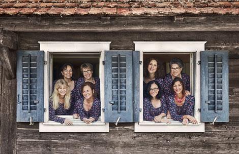 Bild: Vorstand Frauennetz.Meggen: Franziska Brücker, Alice Scherer, Judith Hofer, Susanne Pangerl, Astrid Hofer, Liz Graber, Vreny Hofer, Rita Schnyder