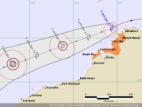 Track map of Tropical Cyclone Claudia, 10/01/2020, image from www.bom.gov.au