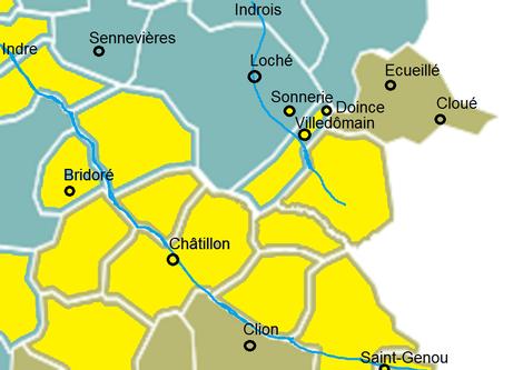 Jaune : possessions de Foulques Nerra, vert : Indre et Loire, marron : Indre