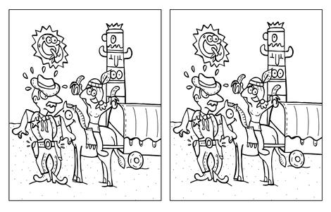 Dirk Van Bun Communicatie & Vormgeving - illustraties - tekeningen - cartoons - corona - 8 verschillen - cowboy & indiaan