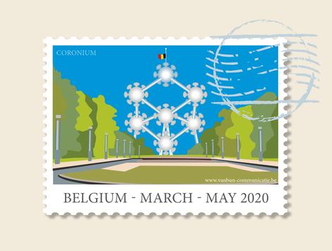 Dirk Van Bun Communicatie & Vormgeving - illustraties - tekeningen - cartoons - corona - coronium postzegel