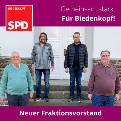 v.l.n.r.: Ewald Achenbach (Kassierer), Christoph Schwarz (Fraktionsvorsitzender), Sebastian Spies (Stv. Fraktionsvorsitzender) und Heinz Funk (Geschäftsführer)