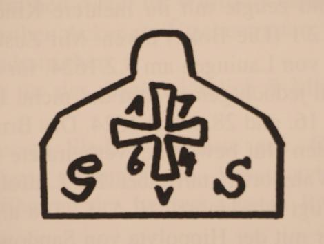 Die Zeichnung der Tafel mit Ordenskreuz, der Jahreszahl 1764 und den Buchstaben GvS (Graf von Stolberg)