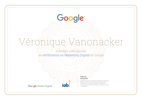 Certification Google Marketing Digital Vevano Consulting freelance
