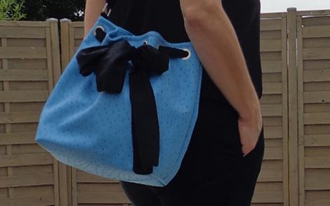 sac seau bleu séance photo