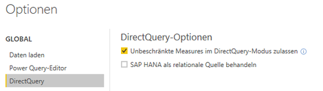 Power BI Desktop, Unrestricted Measures in DirectQuery Option, Unbeschränkte Measures im DirectQuery-Modus Option
