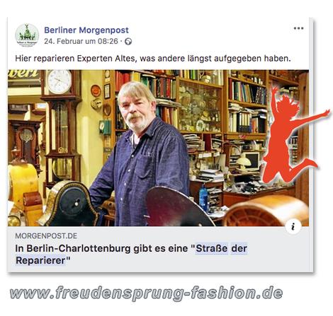 Die Straße der Reparierer in Berlin-Charlottenburg ist unser Freudensprung der Woche!