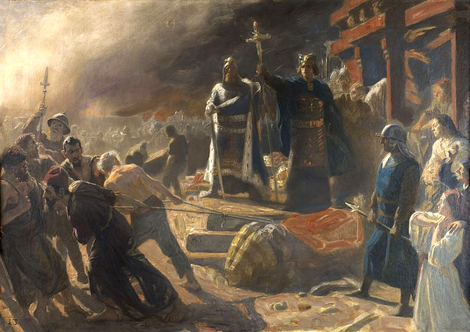 Biskop Absalon powali sochu boha Swjatowita w Arkonje. Mólba Lauritsa Tuxena (1853-1927)