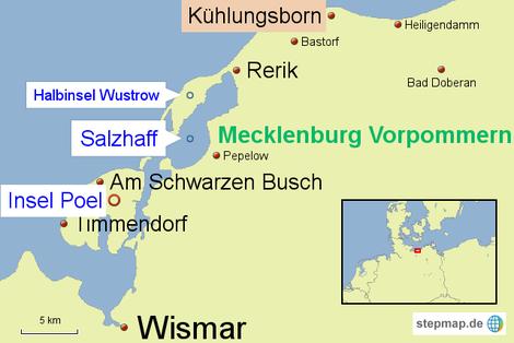 Bild: Karte unseres Wochenendausflugs von Hamburg nach Kühlungsborn und zurück über die Halbinsel Wustrow, das Salzhaff und die Insel Poel.
