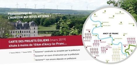 Carte des projets éoliens situés à proximité de la vallée de l'Armançon
