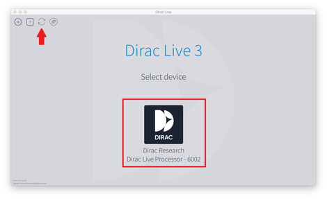 Dirac Live デバイスの選択