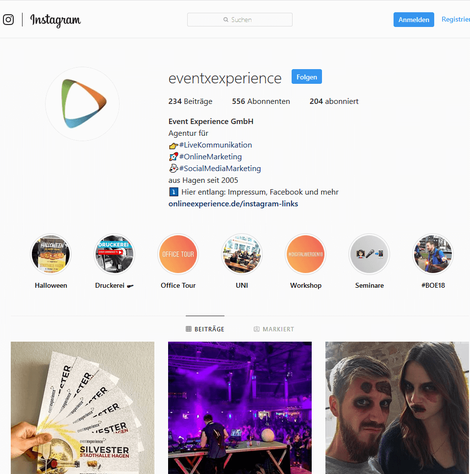Unternehmensseite Instagram