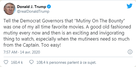"""Don't mutiny when you are really in need of the Captain!' Donald Trump seems to throw out alluding to a famous movie."