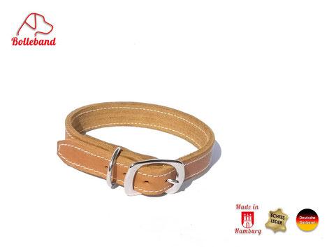 Hellbraunes Hundehalsband mit heller Naht und Edelstahlschnalle von Bolleband