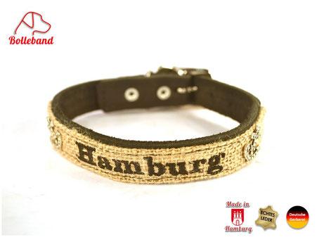 Hundehalsband Hamburg Leder mit Jute von Bolleband