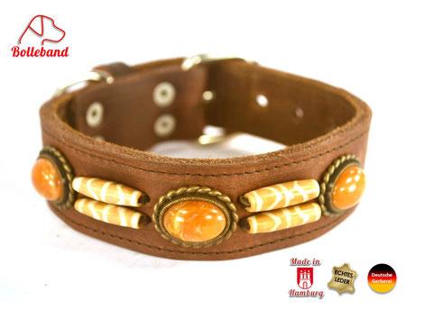 Hundehalsband Fettleder braun mit Perlen Designhalsband Bolleband