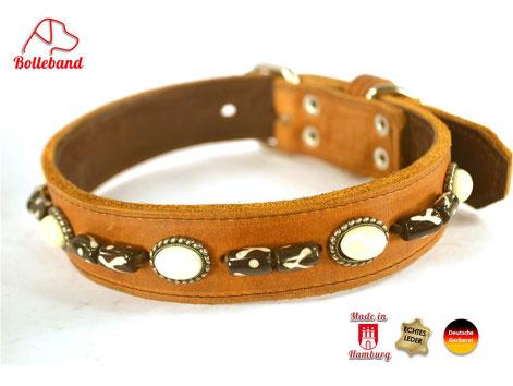 Hundehalsband Leder cognac mit Perlen Designhalsband Bolleband