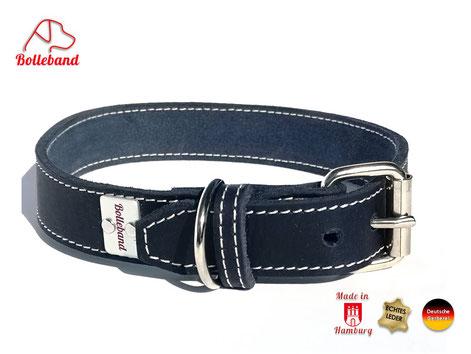 Lederhalsband_Hund_navy_Bolleband