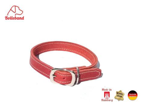 Lederhalsband für Hunde aus rotem Fettleder mit Edelstahlschnalle von Bolleband