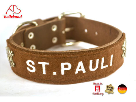 Hundehalsband Leder St.Pauli braun mit weißer Schrift