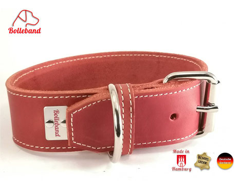 Rotes Fettlederhalsband 4cm breit mit heller Naht made in Germany by Bolleband
