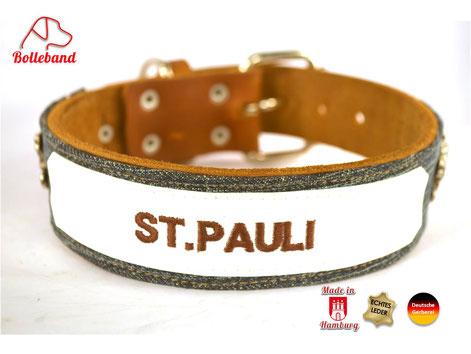 Hundehalsband St.Pauli Leder mit Jeansstoff und Stickerei