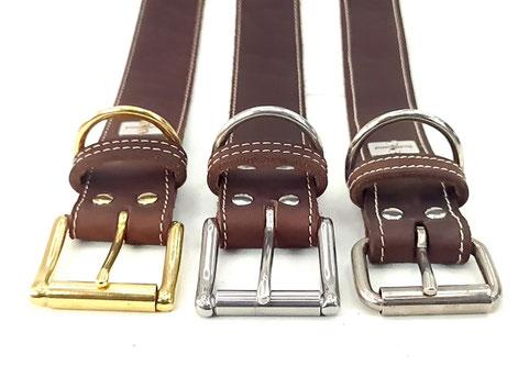 Lederhalsband-Hund-braun-helle-Naht-Bolleband-hundehalsband-Leder