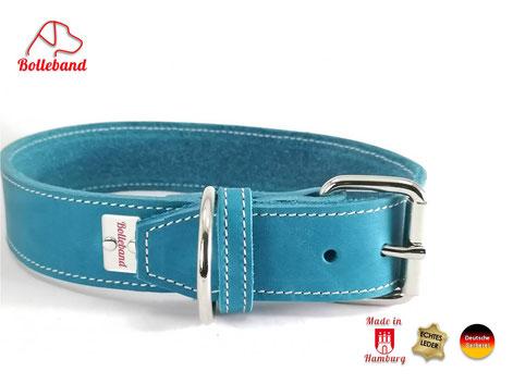 4cm breites Fettlederhalsband für Hund in der Farbe türkis mit hellen Nähten von Bolleband