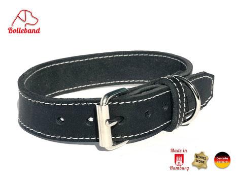 Halsband für Hunde aus Fettleder mit heller Naht handgefertigt von Bolleband