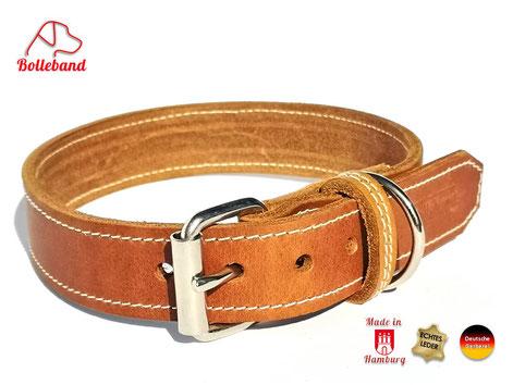 Hundehalsband 3 cm breit aus hellem Fettleder mit heller Naht und Edelstahlschnalle von Bolleband