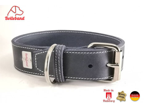Lederhalsband-Hund-dunkelblau-mit-heller-Naht-Bolleband