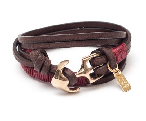 Design Ankerarmband aus Leder in Braun und Weinrot handgefertigter Anker in Gold