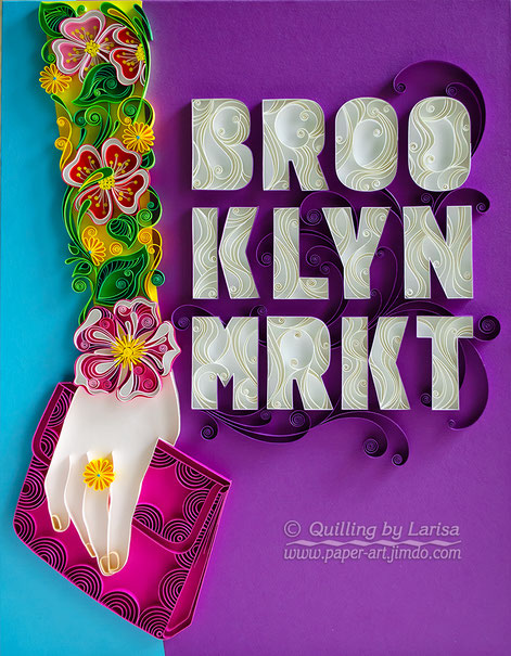 quilling , quilling paper, paper art, art, design, the Anelis Group, Brooklyn, poster design, quilling hand, hand, ring, letters, quilling letters, flowers, blue, violet, handbag, curls,
